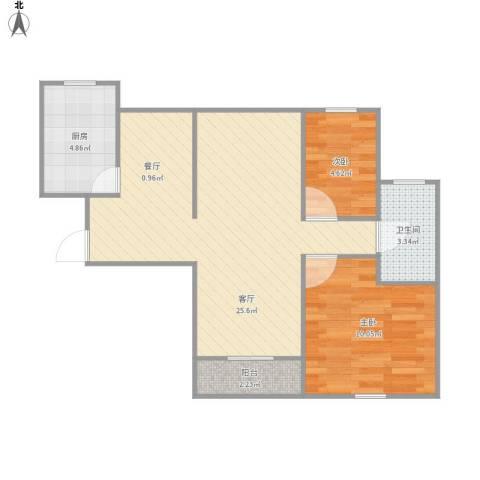 恒大华城天地苑2室1厅1卫1厨68.00㎡户型图