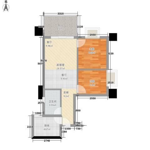 赛拉维2室0厅1卫1厨69.00㎡户型图