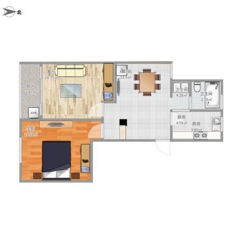 友谊二村1室1厅1卫1厨63.00㎡户型图