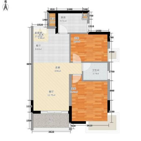 湘麓国际2室0厅1卫1厨90.00㎡户型图