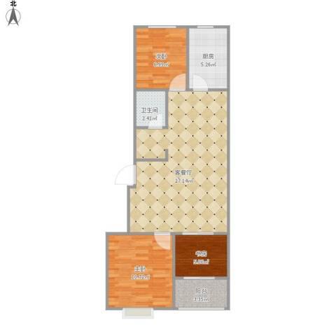 齐鲁 君悦华庭3室1厅1卫1厨83.00㎡户型图