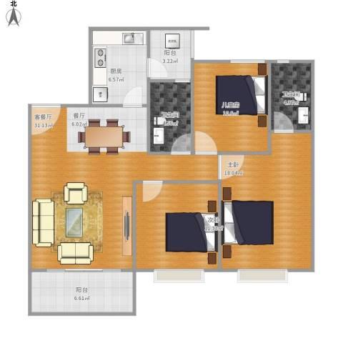 碧桂园山河城3室1厅2卫1厨130.00㎡户型图