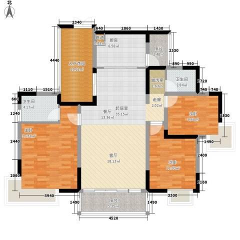 湘麓国际3室0厅2卫1厨150.00㎡户型图