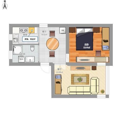 济阳二村1室2厅1卫1厨61.00㎡户型图