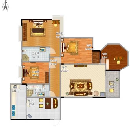 都昌县阳光国际3室2厅2卫1厨162.00㎡户型图