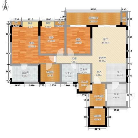 鸥鹏凤凰国际新城3室0厅3卫1厨141.00㎡户型图