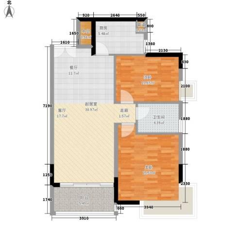 湘麓国际2室0厅1卫1厨104.00㎡户型图