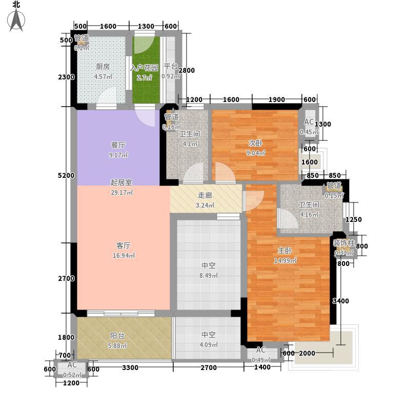 家和岭秀96.00㎡家和春晓苑1-1、1-2、1-3栋01/02单元户型2室2厅
