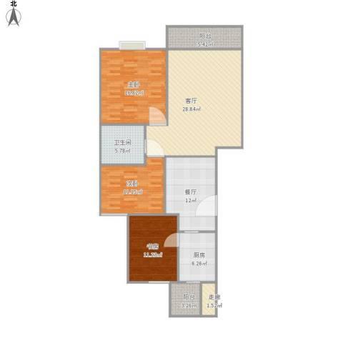 桐城・怡景3室2厅1卫1厨151.00㎡户型图