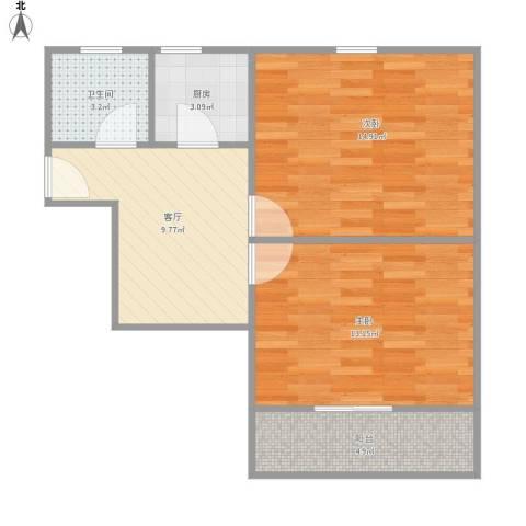 上炼一村2室1厅1卫1厨67.00㎡户型图