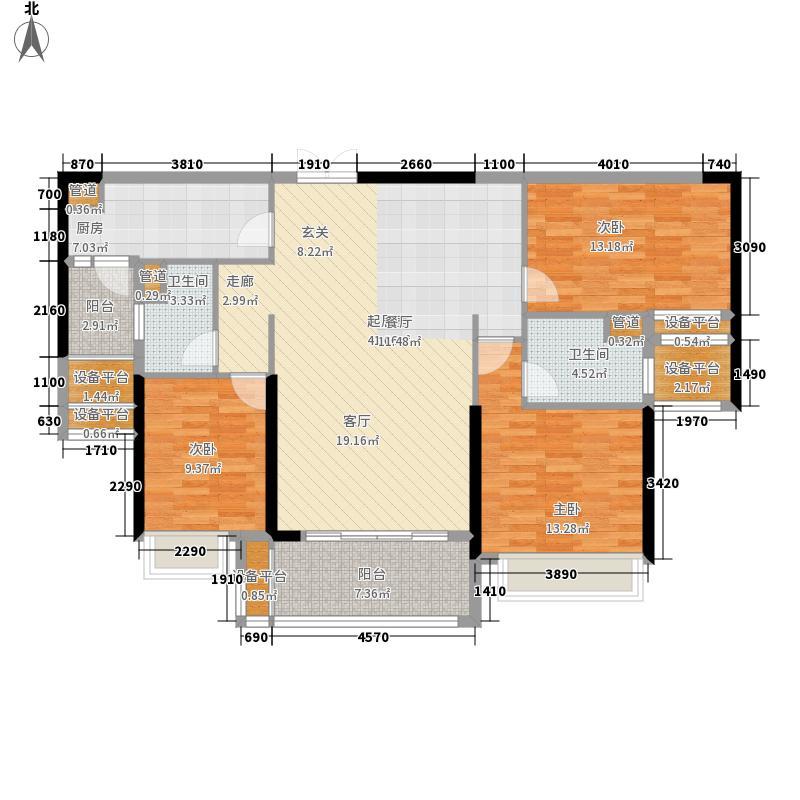 锦绣国际花城124.00㎡3期1幢02户型3室2厅