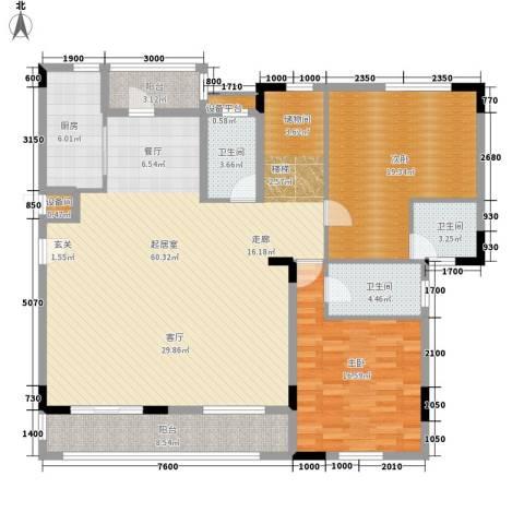 兴业海逸半岛花园2室0厅3卫1厨254.00㎡户型图