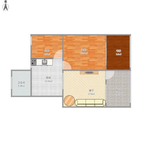 砂子塘 商检局宿舍3室1厅1卫1厨109.00㎡户型图