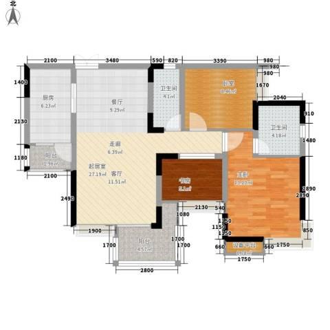 锦上华庭北区观苑2室0厅2卫1厨90.00㎡户型图