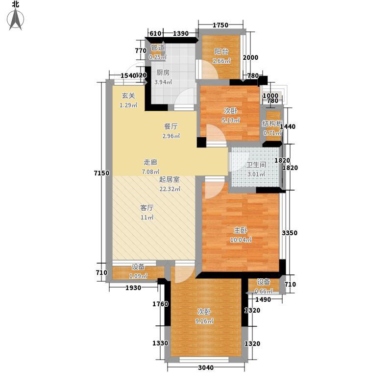 电建地产泛悦国际72.00㎡一期3号楼标准层F户型