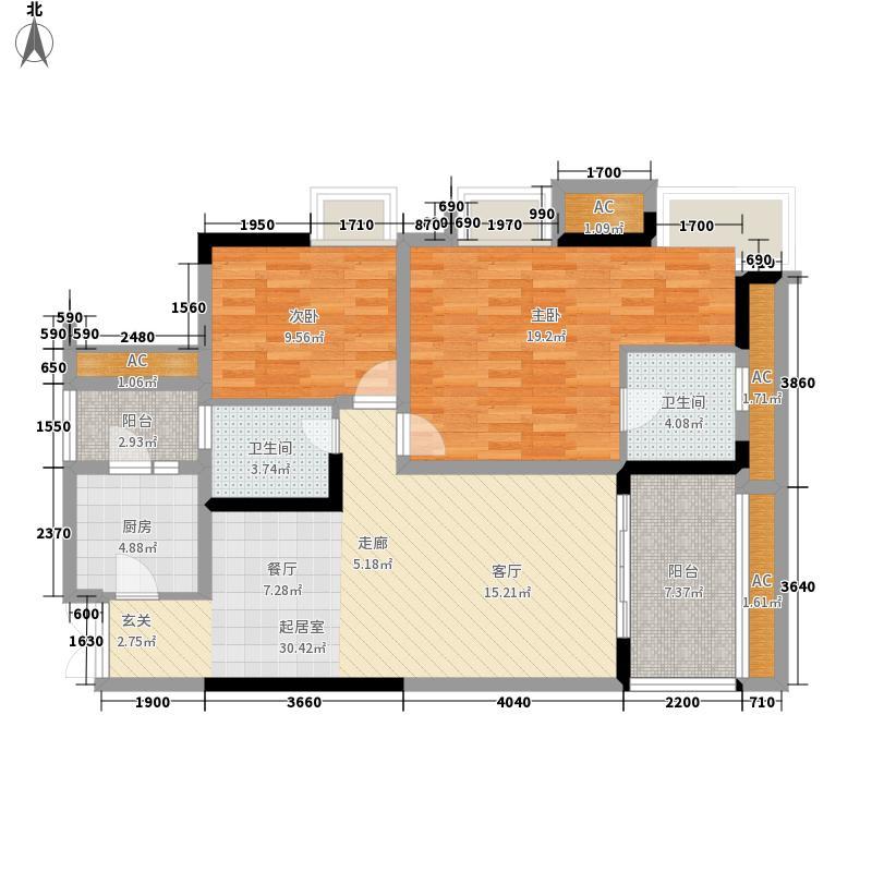 融汇温泉城童话里B区8号楼标准层3户型2室2厅