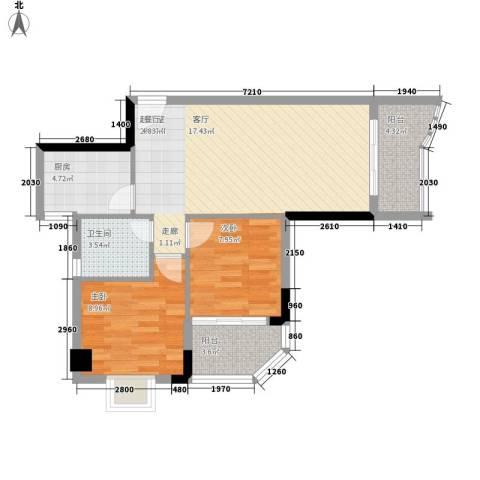赛拉维2室0厅1卫1厨81.00㎡户型图