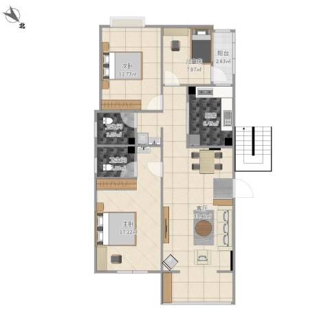 华富家园3室1厅2卫1厨116.00㎡户型图