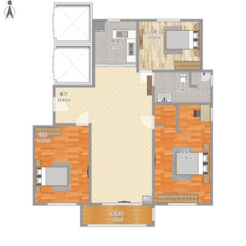 万成尚景3室1厅1卫1厨130.00㎡户型图