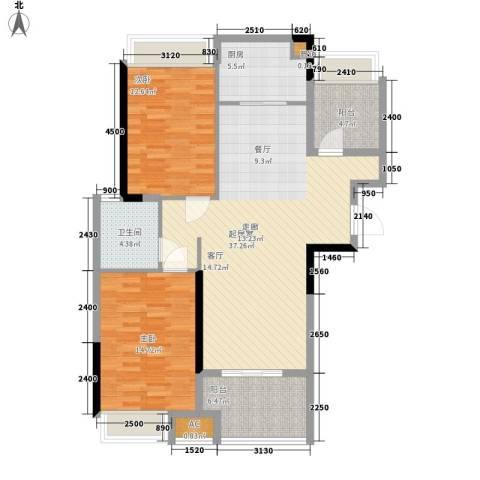 禹洲中央广场2室0厅1卫1厨98.00㎡户型图