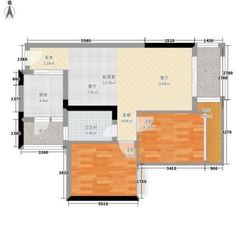 星誉花园2室0厅1卫1厨72.00㎡户型图