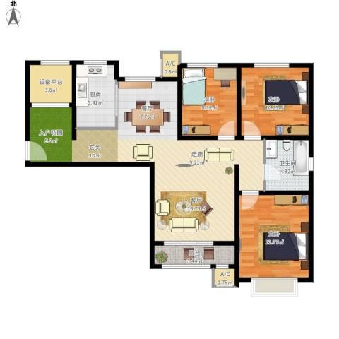 中建滨海壹号3室1厅1卫1厨127.00㎡户型图