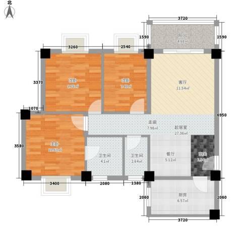顺景蔷薇山庄4期3室0厅2卫1厨104.00㎡户型图
