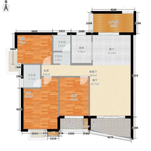 东方国际3室1厅2卫1厨145.00㎡户型图