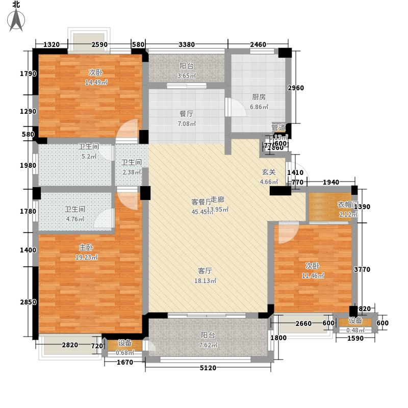 苏宁·天御广场140.00㎡洋房F户型3室2厅
