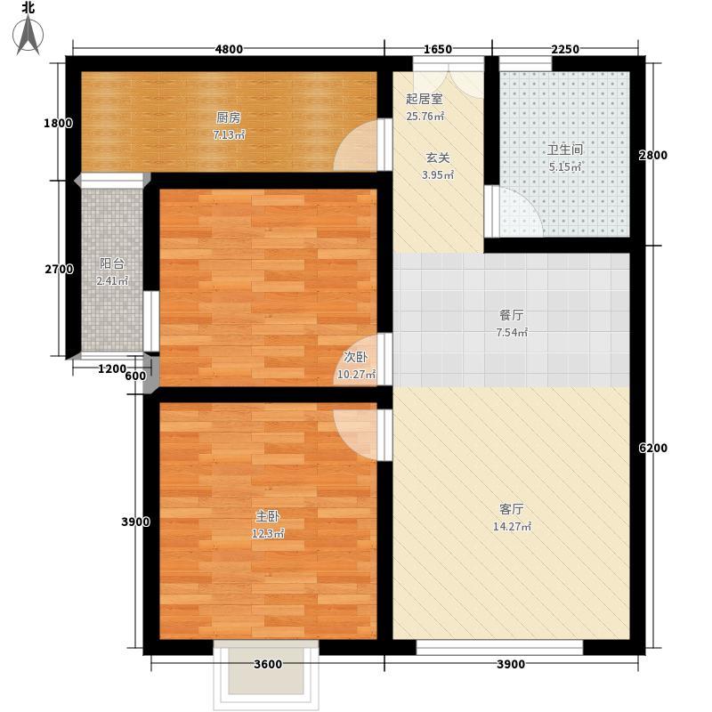 新世纪花园89.81㎡4栋一阳台D户型2室2厅