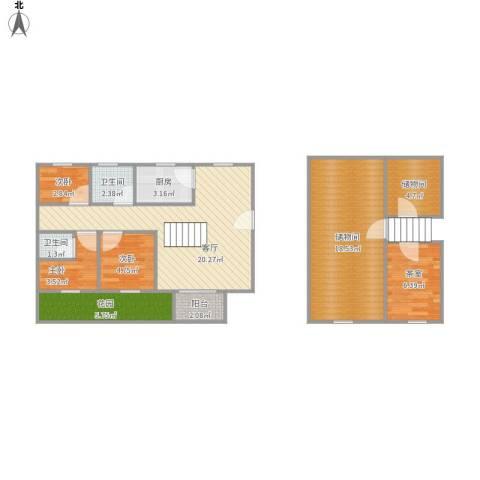 绿洲华庭苑3室1厅2卫1厨104.00㎡户型图