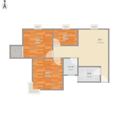 菊泉新城358弄小区3室1厅1卫1厨54.62㎡户型图