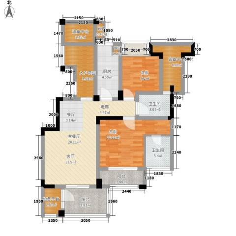 长江国际・朗庭2室1厅2卫1厨85.00㎡户型图