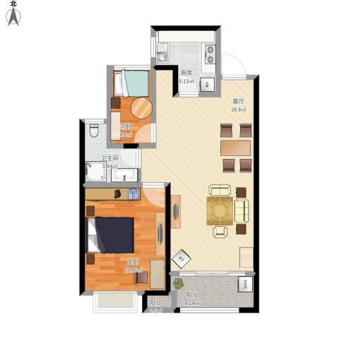 金科天籁城2室1厅1卫1厨80.00㎡户型图