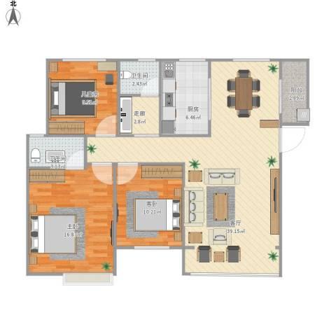 宜章玉龙湾生态小区3室1厅2卫1厨126.00㎡户型图