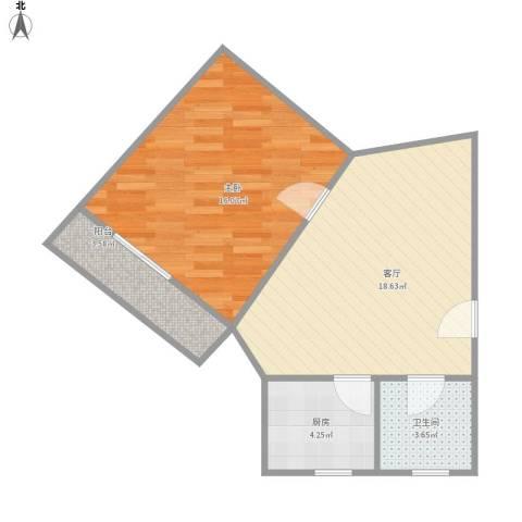 宝林九村1室1厅1卫1厨62.00㎡户型图