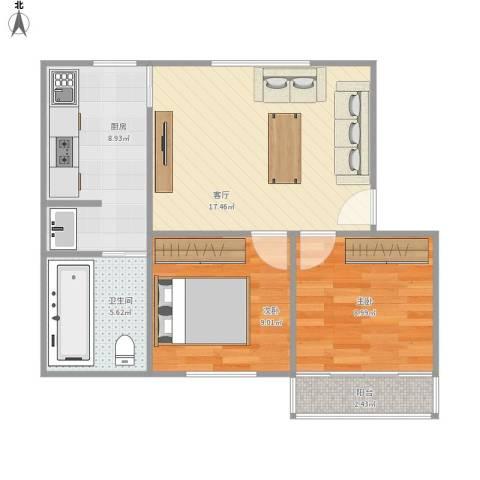 莲坂西小区2室1厅1卫1厨71.00㎡户型图