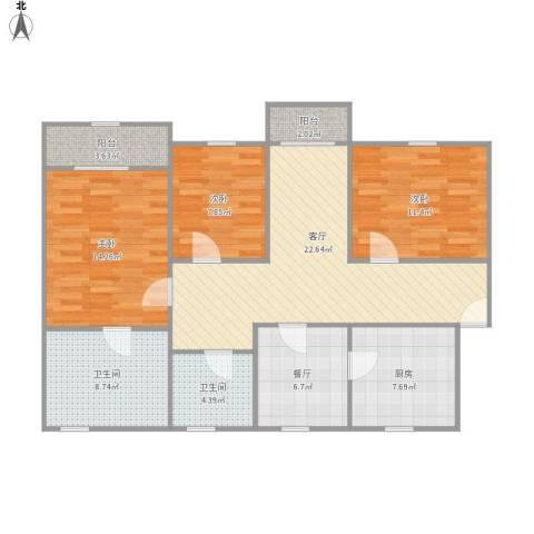 海欣城新世纪家园3室2厅2卫1厨121.00㎡户型图