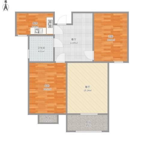 昆明时光2室2厅1卫1厨94.00㎡户型图
