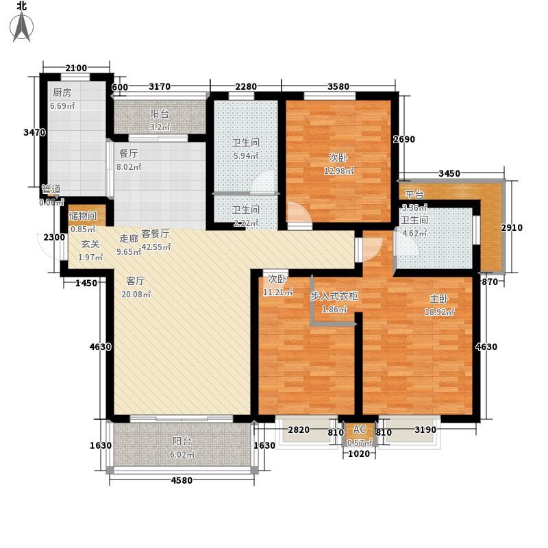 绿地崴廉公寓130.00㎡E72面积13000m户型