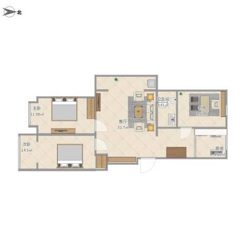 恒益翠芳庭3室1厅1卫1厨104.00㎡户型图