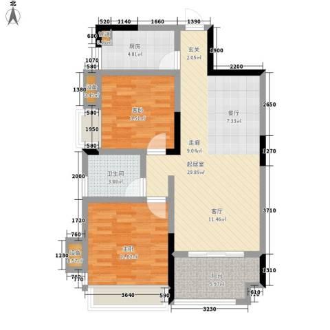 五矿龙湾国际社区2室0厅1卫1厨87.00㎡户型图