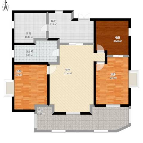 路劲翡丽湾3室2厅1卫1厨182.00㎡户型图