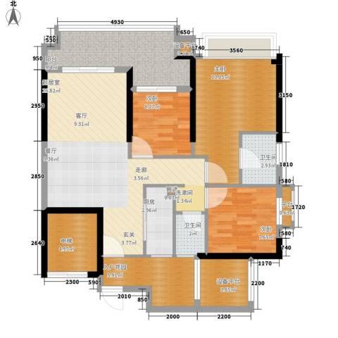 锦绣国际花城3室0厅2卫1厨102.00㎡户型图