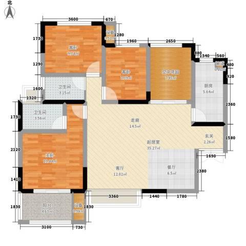 五矿龙湾国际社区3室0厅2卫1厨117.00㎡户型图
