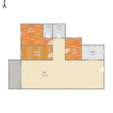 健康花城2室1厅2卫1厨169.00㎡户型图