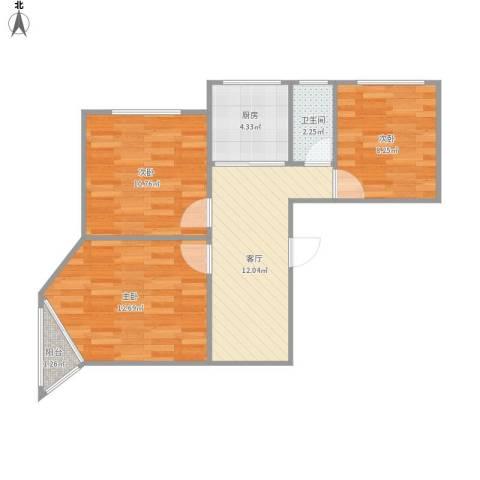 北门桥小区3室1厅1卫1厨70.00㎡户型图
