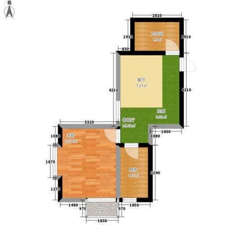 翰林雅居1室1厅1卫1厨56.00㎡户型图