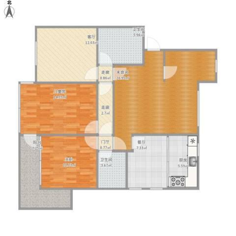 滨河花园2室2厅2卫1厨133.00㎡户型图