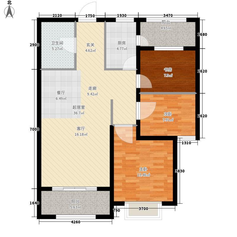 万达·维多利亚湾98.00㎡B2户型3室2厅
